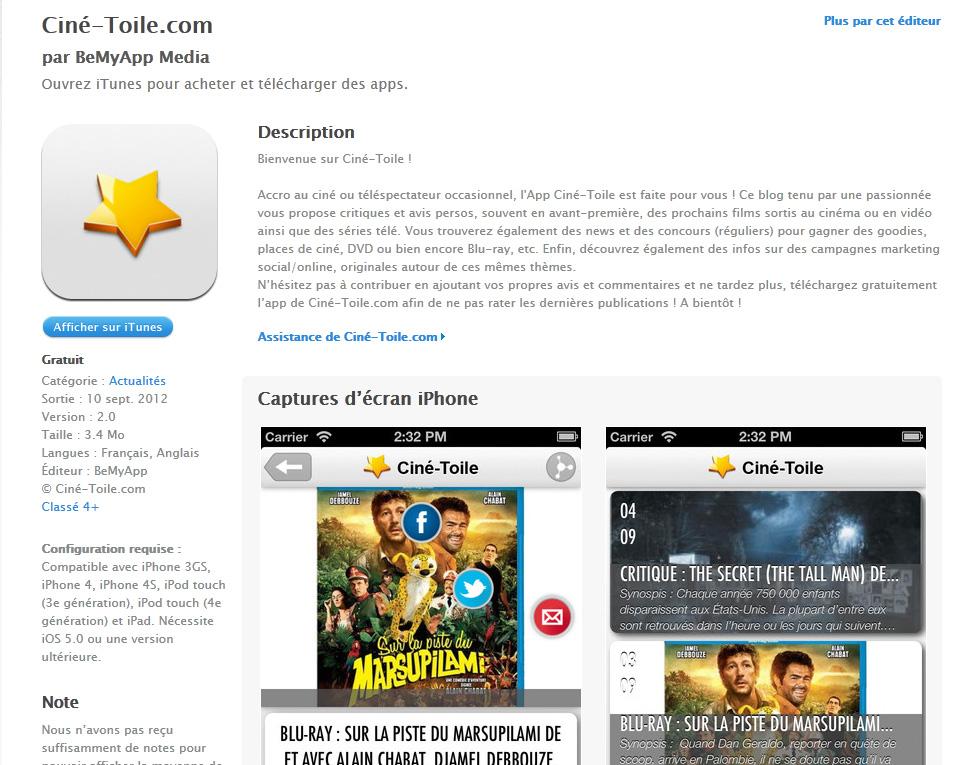 Auto promo Cine-Toile com - News : Application Iphone, Meilleur blog